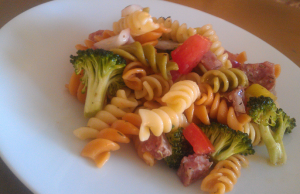 Pasta Salad with broccoli, kalamata olives, red onion, and salami